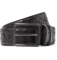 Bottega Veneta 3Cm Black Intrecciato Leather Belt Black