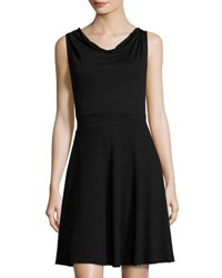 Three Dots Cowl Front Knit Fit And Flare Dress Black