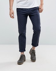 Kiomi Tapered Fit Chinos With Pleated Waistband Navy