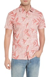 Kahala Coral Star Trim Fit Print Sport Shirt Red