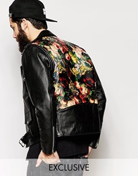 Reclaimed Vintage Leather Biker Jacket With Back Print Black