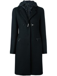 Fay Double Front Hooded Coat Black