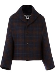 Comme Des Garcons Junya Watanabe Checked Boxy Jacket Blue