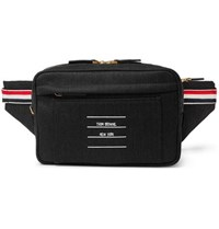 Thom Browne Leather Trimmed Twill Belt Bag Gray