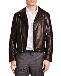 The Kooples Minimalist Leather Moto Jacket Black