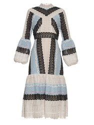 Erdem Sandra Tri Colour Lace Dress Black Blue