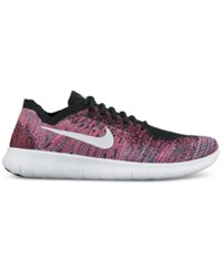 Nike Women's Free Run Flyknit 2017 Running Sneakers From Finish Line Black White Racer Pink Ga