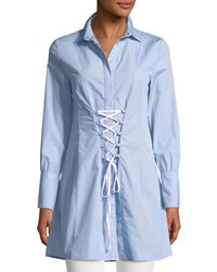 Romeo And Juliet Couture Collared Corset Lace Up Shirtdress Blue