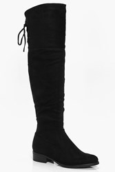 Boohoo Violet Lace Back Over The Knee Boot Black
