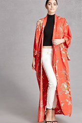 Forever 21 Repurposed Satin Floral Kimono Red Multi
