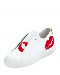 Here Now Scarlett Lip Embroidered Sneaker White Red White Red