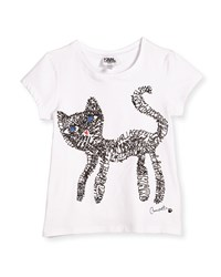 Karl Lagerfeld Short Sleeve Cat Scribble Jersey Tee White Size 6 10 Girl's Size 6