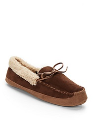 Saks Fifth Avenue Faux Shearling Lined Moccasin Slippers Brown