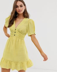 Moon River Twist Sleeve V Neck Dress With Ruffle Yellow