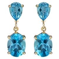 A B Davis 9Ct Gold Double Drop Earrings Topaz