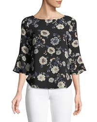 Casual Couture 3 4 Bell Sleeve Floral Blouse Multi Pattern