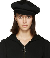 Y's Black Wool Newsboy Cap