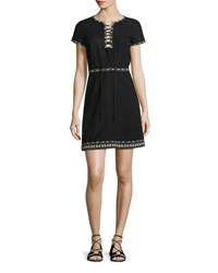 Talitha Collection Embroidered Suede Lace Up Dress Black