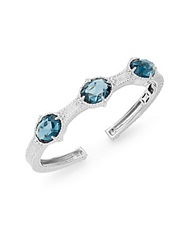Judith Ripka Calypso London Blue Spinel White Sapphire And Sterling Silver Cuff Bracelet Silver Blue