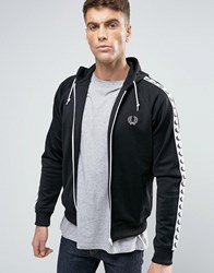 Fred Perry Sports Authentic Hooded Track Jacket In Black Black