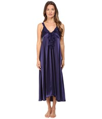 Oscar De La Renta Charmeuse Long Gown Deep Navy