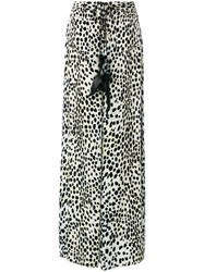 Roberto Cavalli Leopard Palazzo Pants Women Silk Cotton Viscose 44 Black