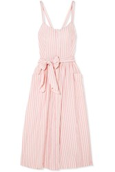 The Great Carriage Striped Cotton Midi Dress Pink Gbp