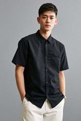 Urban Outfitters Uo Overdyed Pigment Short Sleeve Button Down Shirt Black
