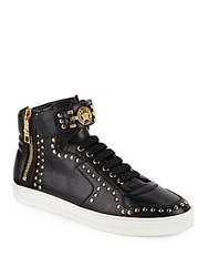 Versace Studded High Top Leather Sneakers Black Warm