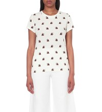 Maje Bird Print Cotton T Shirt White