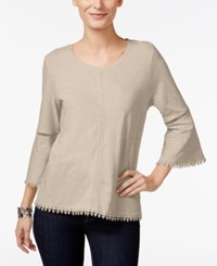 Style And Co Crochet Trim Bell Sleeve Top Only At Macy's Oatmeal Heather