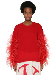 Valentino Wool Blend Knit Sweater W Feathers Red