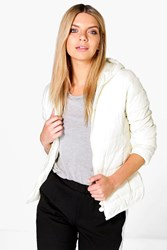 Boohoo Wet Look Lightweight Bubble Coat Cream