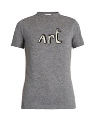 Bella Freud Art Short Sleeved Cashmere Sweater Grey