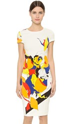 Prabal Gurung Short Sleeve Printed Dress Multi Floral Lace Print