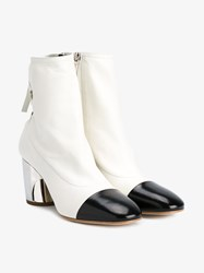 Proenza Schouler Lace Back Leather Booties White Silver Metallic Silver Black