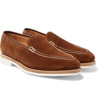 George Cleverley Riviera Suede Loafers Brown