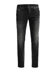 Jack And Jones Whiskered Skinny Jeans Black Denim