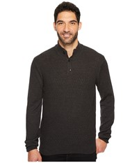 Perry Ellis Solid Textured Mock Neck Sweater Charcoal Heather Gray