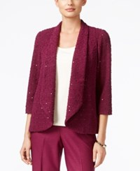 Alfred Dunner Veneto Valley Collection Sequined Boucle Jacket Wine