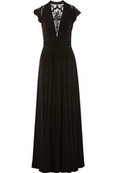 Catherine Deane Woman Brooke Embroidered Tulle Paneled Satin Jersey Gown Black