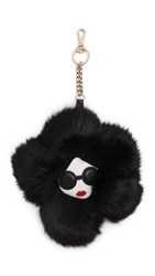 Alice Olivia Stace Face Fur Flower Keychain Charm Black