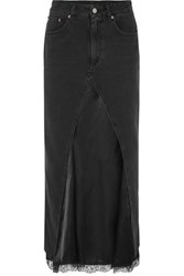 Maison Martin Margiela Mm6 Layered Lace Trimmed Satin And Denim Midi Skirt Black