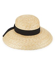 Saks Fifth Avenue Made In Italy Braided Straw Hat Natural Black