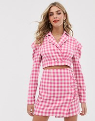 Finders Keepers Gigi Check Co Ord Crop Top Pink