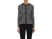 Lisa Perry Women's Striped Cashmere Hoodie Black