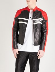 Versace Contrast Panels Leather Jacket Black