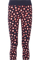 Tory Sport Spry Bengal Printed Stretch Tactel Leggings Midnight Blue