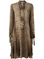 P.A.R.O.S.H. Leopard Print Shirt Dress Nude Neutrals