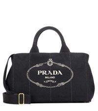 Prada Jardinera Large Canvas Shopper Bag Black